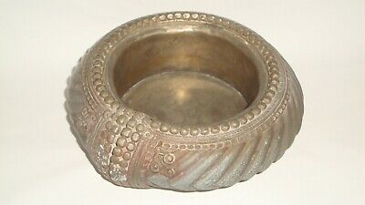 Rare Antique African Large Slave Bangle Converted to Bowl / Dish White Metal