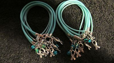 1 Doz Teal Ovarian Cancer  Hope  With Glass Bead Bracelet    Free Shipping