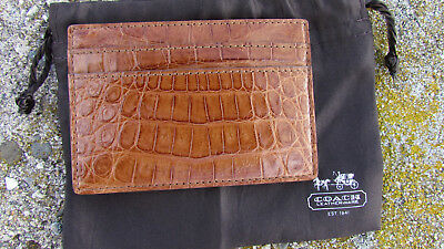 NEW COACH Exotics slim card case $398 leather saddle 74265 gift bag gator croc