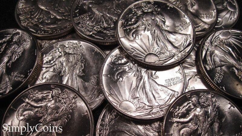 Uncirculated Walking Liberty Silver Half Dollar US Coin Lot Set