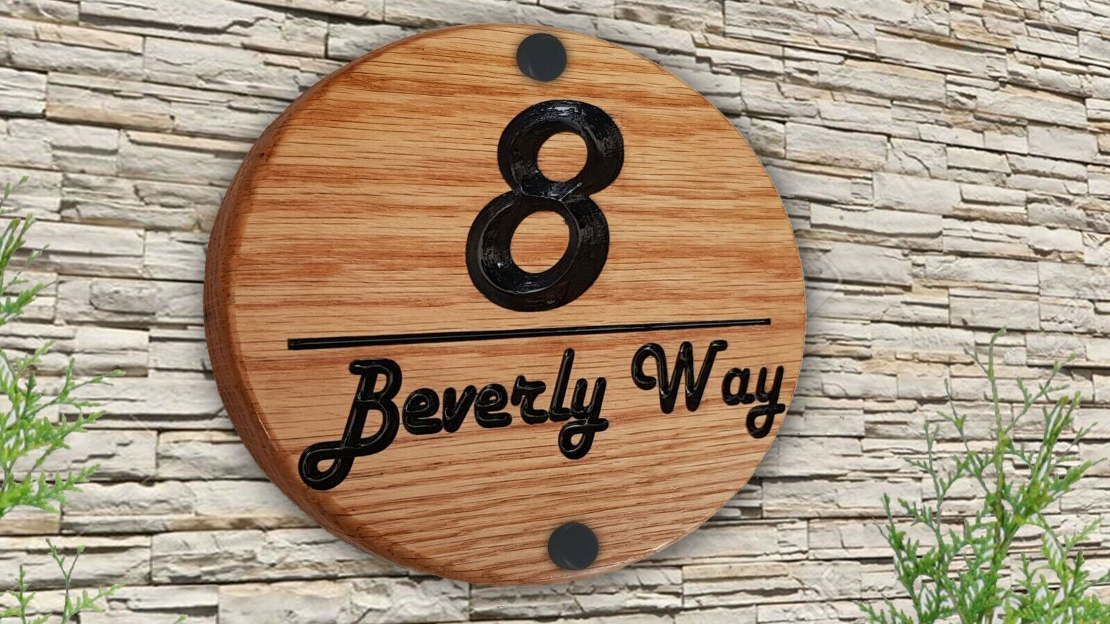 Personalised Carved Engraved Wooden House Number Name Sign Address Plaque