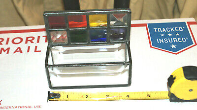 Vintage Stained Glass Business Card Holder