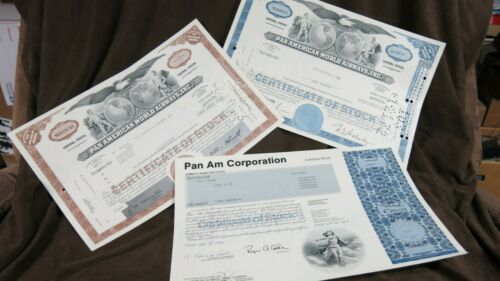Set of 1-Pan Am, 2-Pan American World Airways Stock Certificates Airline Stocks