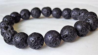 "Genuine VOLCANIC LAVA Rock bead bracelet for MEN WOMEN Stretch 10mm AAA - 7.5"""
