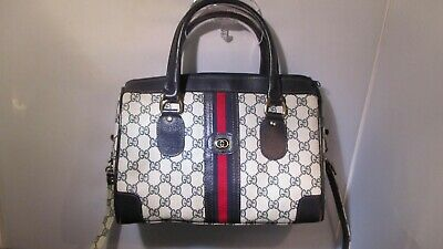 Vintage Authentic GUCCI Blue Red Striped Monogram Boston Handbag / Shoulder Bag