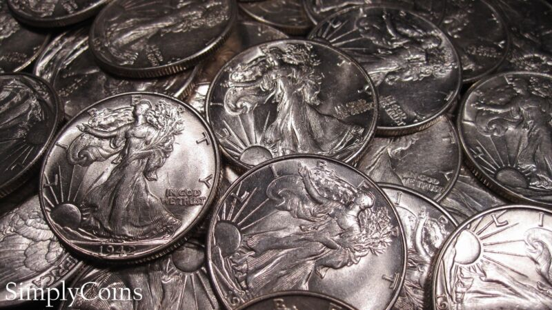(1) Mixed Date AU About Uncirculated Walking Liberty Silver Half Dollar Coin Lot