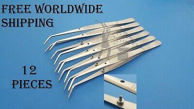 Dental Cotton Tweezers Pliers College Dental Examination Care Instruments 12 Pcs