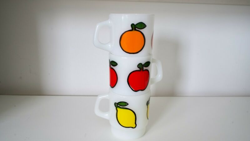 Set of 3 Rare Vintage Fire King Milk Glass Fruit Mugs, Anchor Hocking