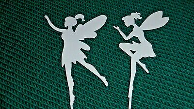 SET OF 10 METAL FAIRY PICKS PAINTED WHITE STUNNING IN PLANT POTS BORDERS GARDEN