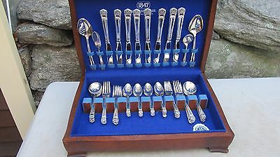 "52 pc 1847 Rogers Bros  I S Silver Plate "" Eternally Yours """