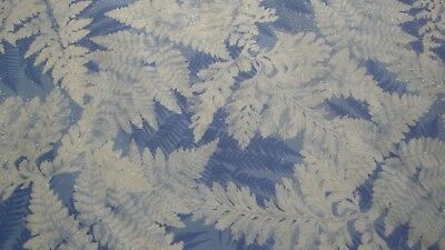White Leaves Tossed-Blue Background-Timeless Treasures-Metallic-BTY