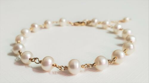 Pearl Bracelet 14K Yellow Gold Filled, White 4-5 mm Pearl Bracelet