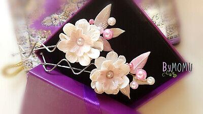 Horquillas Comunión Flores blancas para el Pelo-Flores Porcelana-Tocado Novias y
