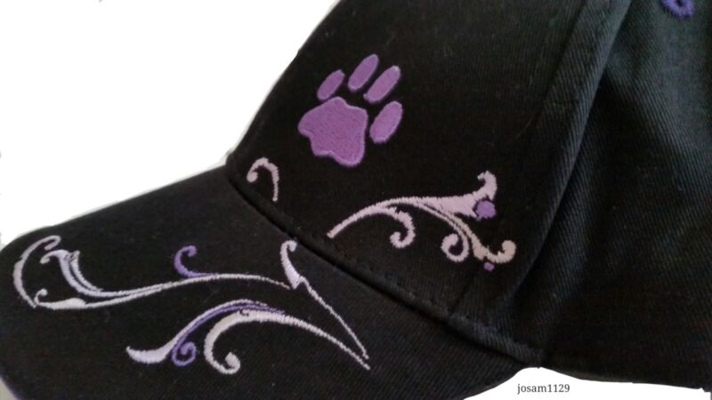 Purple Paw Embroidered Adjustable Baseball Cap Hat - Helps the ASPCA