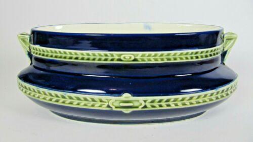 Antique French De Bruyn FIVES LILLE Jardiniere Blue Majolica Planter Art Nouveau