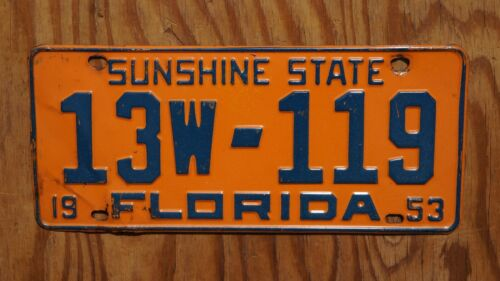 1953 Florida Passenger License Plate # 13w - 119