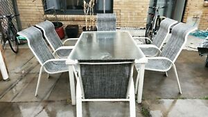 6 outdoor chairs, table 180×90×70cm height. Price firm and no negatiab