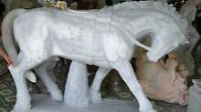 MARBLE  HORSE White & Grey STONE  real MARBLE hand carved  1.5 mt West Melbourne Melbourne City Preview