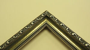 Antique-Silver-Red-w-Beads-Custom-Made-Wood-Picture-Frame-6661