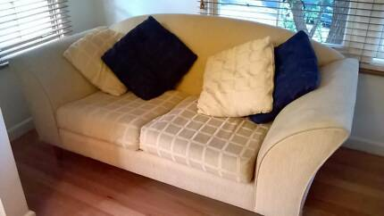 Elegant matching blue & yellow sofas (lounges) + grey ottoman Greenwich Lane Cove Area Preview