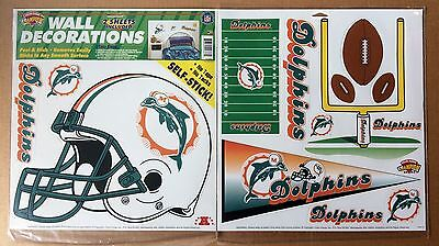 (Miami Dolphins NFL Football self-stick WALL DECORATIONS by Color Clings)
