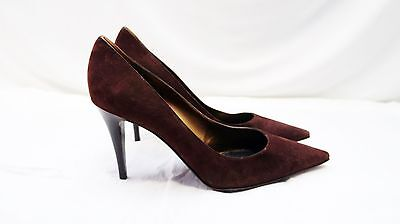 NEW SERGIO ROSSI PUMPS CHOCOLATE BROWN SUEDE POINTED TOE HEELS 41 10.5 ()