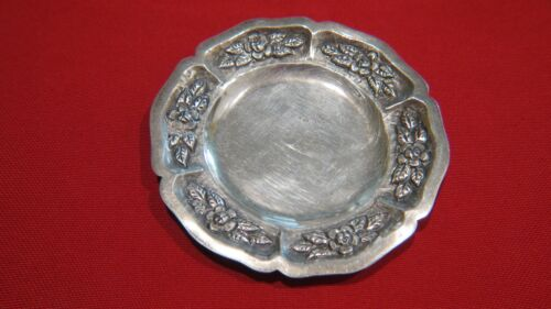 """Silver 900 fine Aztec Rose Butter Pat or Nut Dish 4"""""""