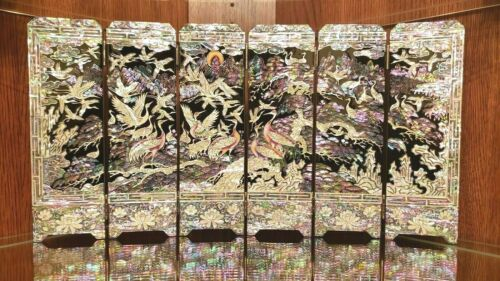 Oriental Lacquered Wood Mother-of-Pearl Inlay Six-Panel Folding Table Screen