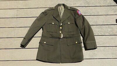 US WW2 Army Military Tailor Made Named Officer's Class A Uniform Jacket.