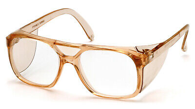 Pyramex Monitor Clear Lens Caramel Retro Aviator Safety Glasses Side Shield (Monitor Glasses)
