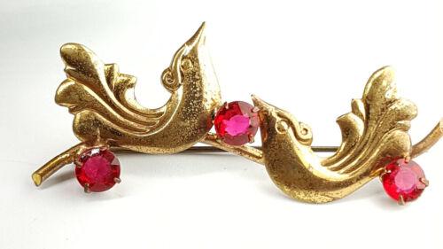 Art Nouveau Ruby glass stone Paradise birds brooch.