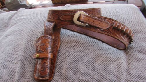 VINTAGE ORNATE WESTERN LEATHER GUNBELT MADE BY PETE MITCHELL IN PHOENIX, ARIZONA