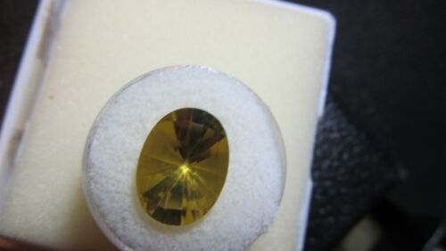 Golden Beryl ~ Heliodor Genuine Gemstone 16x12mm Oval Concave Faceted Cut 8.5CT~