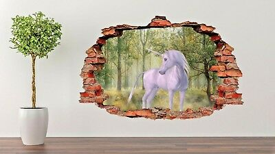 Unicorn In The Forest  Wall Decal Living Room 3D Wall Paper Sticker J361 - Unicorn In Forest