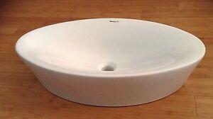 NEW Above Counter Oval White Ceramic Vessel