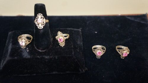 LOT OF 5 RINGS STERLING SILVER PINK STONES SIZES 7-7.75-8-8.25-8.5