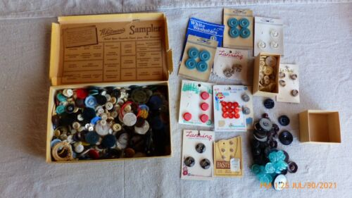 LARGE LOT OF MIXED NEW AND VINTAGE SEWING CRAFT BUTTONS SOME VERY OLD