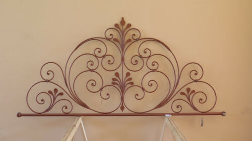 Headboard Bed header For Double Bed Wrought Iron A Tail peacock Vintage 24