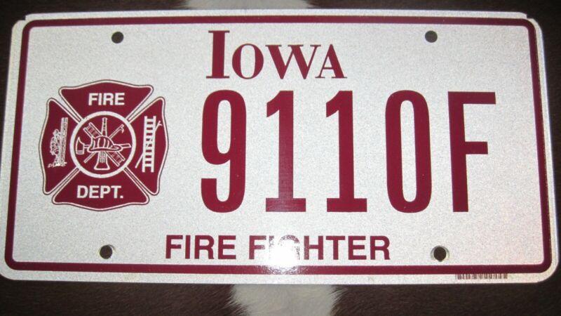 Iowa Fire fighter license plate. Flat.