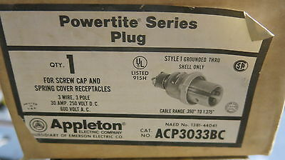 Appleton Acp3033bc 30 Amp 600 Volt 3 Wire 3 Pole Pin Sleeve Plug New