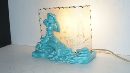 Vintage Mid Century Lighted Ceramic Chinese Asia China Girl Lady TV Table Lamp