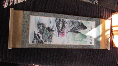 VERY COOL HANDPAINTED CHINESE WATER COLOR PRAYER SCROLL WITH ORIGINAL BOX
