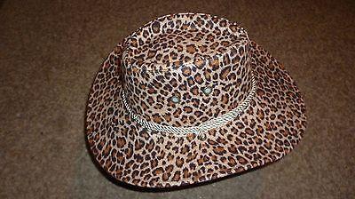 $10 LESS! Cowboy Hat, Cheetah fur, 4 vents, Cord, brown suede inside, EC $10