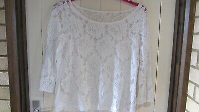 Abercrombie & Fitch 3/4 sleeve lace fronted overtop size L 40 inch...