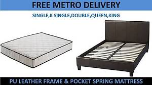 Brand New Leather PU Bed + Mattress DEAL (All Sizes/FreeDelivery) Brisbane City Brisbane North West Preview