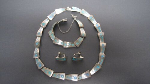 Sterling  JSP Mexico Taxco Necklace Earrings Bracelet Turquoise Enamel marked