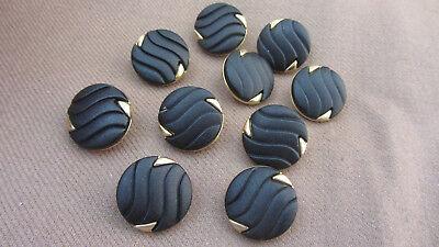 10 Tolle Knöpfe mit Motiv schwarz gold Kunststoff-& Metallknöpfe