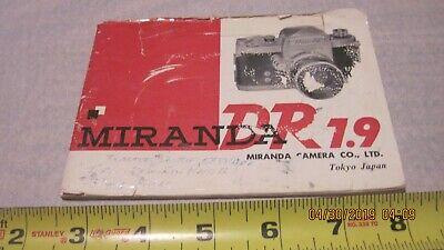Camera Owners Manual - Miranda DR 1.9 Camera  Owners Manual Booklet (Used)