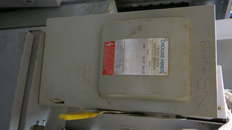Crouse Hinds HH361 30 Amp 600 Volt NEMA 1 FUSIBLE Disconnect - USED