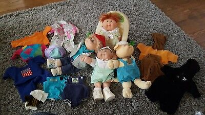 VINTAGE Cabbage Patch Kid Lot of 4, outfits, and carrier CHECK PICS, used for sale  Rochester